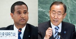 Ahmed Shaheed (links), UN-Sonderberichtserstater zu Menschenrechten im Iran und UN-Generalsekretär Ban Ki-moon (rechts). UN Photos/Jean-Marc Ferre und Marco Castro.