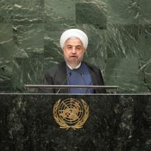 Der iranische Präsident Hassan Rohani spricht am 28. September 2015 vor der UN Generalversammlung