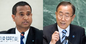 Ahmed Sahnet, UN-Sonderberichterstatter über Menschenrechte im Iran (links) und Ban Ki-moon, UN Generalsekretär (rechts) UN Fotos/Jean-Marc Ferre and Marco Castro.