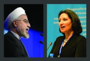 Präsident Hassan Rohani (li) und Bani Dugal (re.), Sprecherin der Internationalen Bahá'í-Gemeinde am Sitz der Vereinten Nationalen in New York.